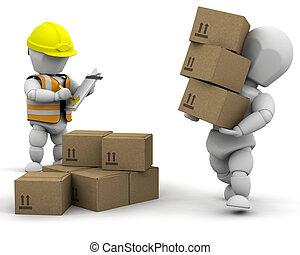 3d removal men - 3D removal men handling materials - ...