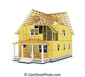 3d, render, の, 家, 中に, 建設, process., 私達, 見なさい、, 成分, の, 屋根,...