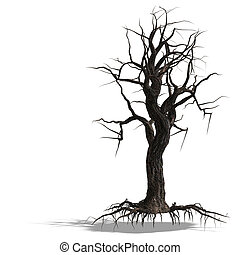 3d, render, の, a, 枯れた木, なしで, leafs