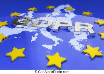 3d, render, -, 一般, 數据保護, 規定, (gdpr), -, 歐盟, (eu)
