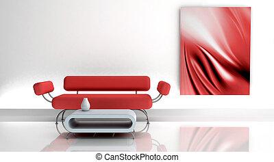 3d, render, ......的, 沙發