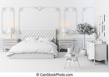 3d, render, ......的, 美麗, 寢室