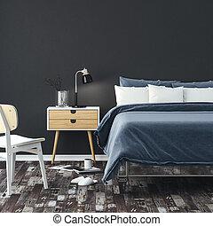 3d, render, ......的, 美麗, 寢室, 特寫鏡頭