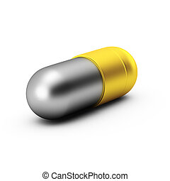 3d, render, ......的, 金, 以及, 銀, 藥丸, 在懷特上, 背景