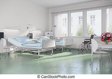 3d, render, -, 空, 醫院房間