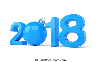3d render - 2018 in letters with a blue christmas ball as Zero over white background