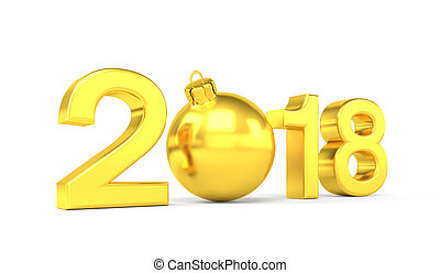 3d render - 2018 in letters with a golden christmas ball as Zero over white background