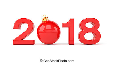 3d render - 2018 in letters with a red christmas ball as Zero over white background