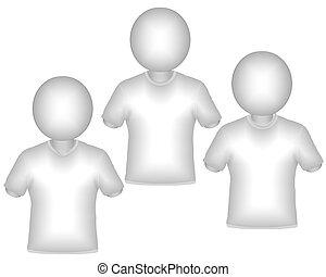 3d render 3 shirts similar design silhouette