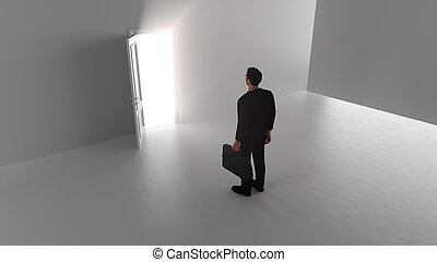 3d render A business man walks through a shine door in a bright room