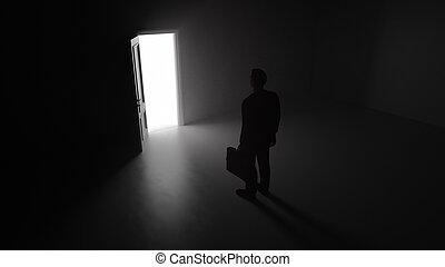 3d render A business man walks through a shine door in a dark room