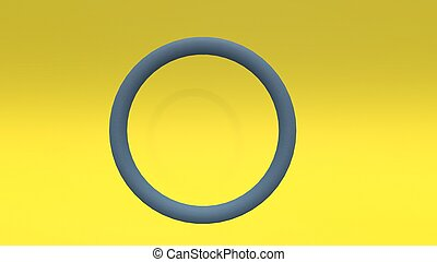 3d render Abstract cycle on yellow background
