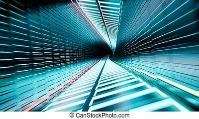 3d render, abstract neon tunnel