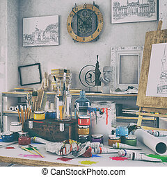 3d render - artistic equipment in a studio - retro look - 3d...