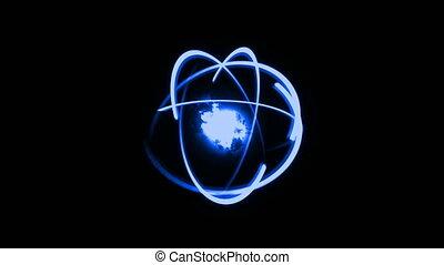 3d render atom, luminous nuclear model, molecule structure...