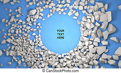 3d render background. Cracked stone placeholder on blue background