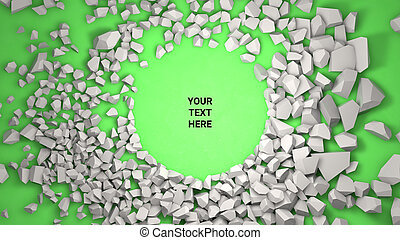 3d render background. Cracked stone placeholder on green background
