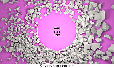3d render background. Cracked stone placeholder on pink background