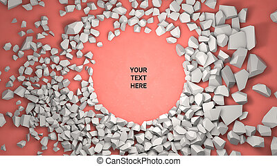 3d render background. Cracked stone placeholder on red background