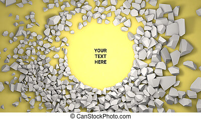 3d render background. Cracked stone placeholder on yellow background