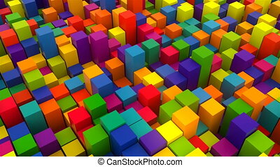 3d render background with many rows of bright colorful cubes, computer generated backdrop