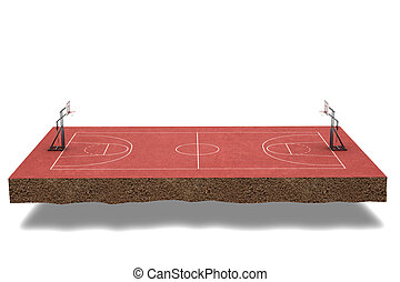3d render Basketball field