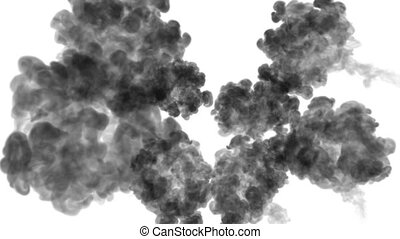3d render black ink in water on white background with luma matte as alpha mask for ink effects or background. injection pattern 1