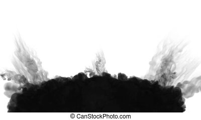 3d render black ink in water on white background with luma matte as alpha mask for ink effects or background. multiple injections 3