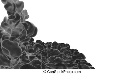 3d render black Ink in water or smoke with alpha mask for motion effects and compositing. Beautiful Ink clouds or smoke move in slow motion with luma matte. Version VFX 6