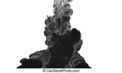 3d render black Ink in water or smoke with alpha mask for motion effects and compositing. Beautiful Ink clouds or smoke move in slow motion with luma matte. Version VFX 18