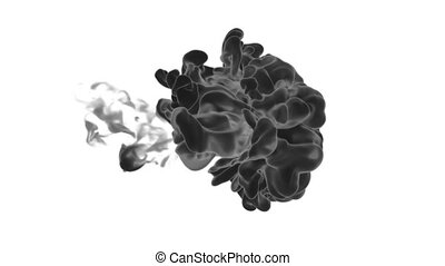 3d render black Ink in water or smoke with alpha mask for motion effects and compositing. Beautiful Ink clouds or smoke move in slow motion with luma matte. Version VFX 1