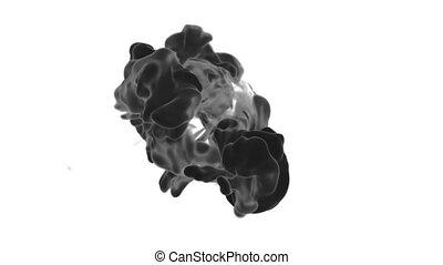 3d render black Ink in water or smoke with alpha mask for motion effects and compositing. Beautiful Ink clouds or smoke move in slow motion with luma matte. Version VFX 13