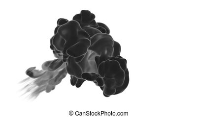 3d render black Ink in water or smoke with alpha mask for motion effects and compositing. Beautiful Ink clouds or smoke move in slow motion with luma matte. Version VFX 7