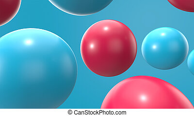 3d render blue and red sphere background. 3d objects geometric shape