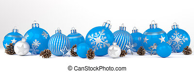 3d render - blue and silver christmas baubles over white background - panorama