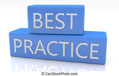 Best Practice - 3d render blue box with text Best Practice...