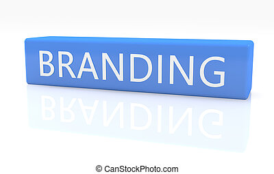 3d render blue box with text Branding on it on white background with reflection