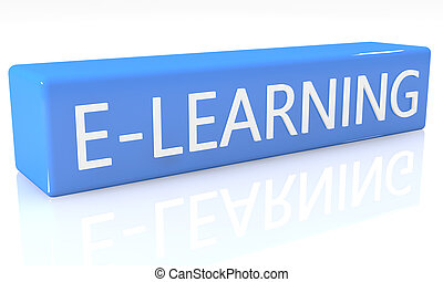 E-learning - 3d render blue box with text E-learning on it...