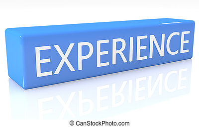 Experience - 3d render blue box with text Experience on it ...