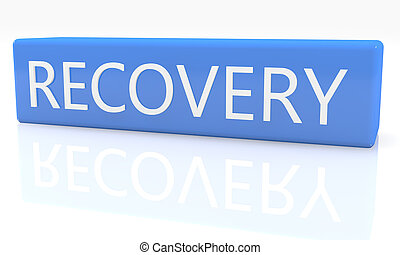 3d render blue box with text Recovery on it on white background with reflection