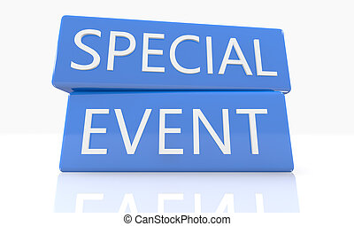 3d render blue box with text Special Event on it on white background with reflection