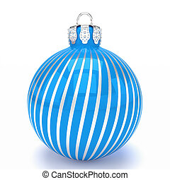 3d render - blue christmas bauble over white background