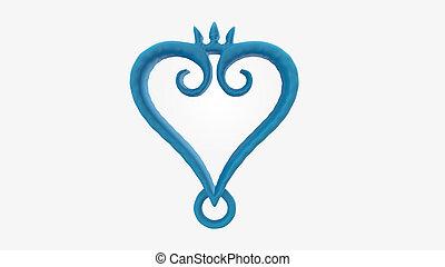 3d render blue color heart love symbol on white background