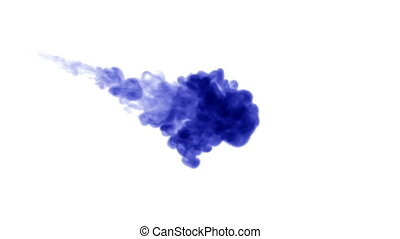 3d render blue ink in water on white background with luma matte as alpha mask for ink effects or background. 7
