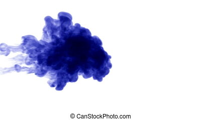 3d render blue ink in water on white background with luma matte as alpha mask for ink effects or background. 13