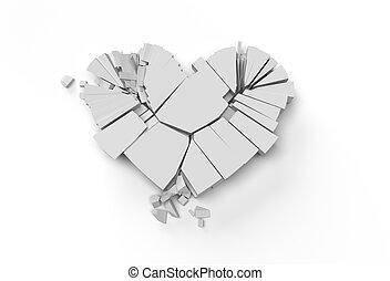 3D Render Broken Heart Love symbol. Valentine's Day sign 3D illustration Graphic Design.