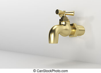 3D Render Chrome Tap with a water stream isolated on white 3d illustration.