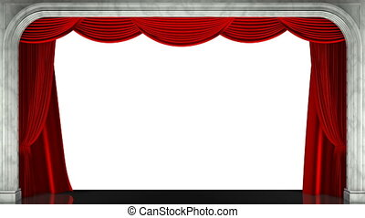 3D render clip of an opening red stage curtain. Animated...