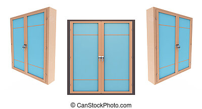 3d render closed plastic window on white background set