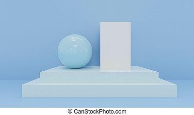 3d, render., coloré, bleu, figures., résumé, coloré, balles, géométrique, cubes, illustration
